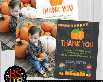Pumpkin Birthday Thank You Card, Pumpkin Patch Party Thank you card