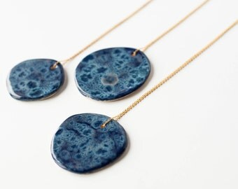 DARK BLUE ceramic NECKLACE, Ceramic jewelry, Ceramic statement pendant, Statement necklace, Contemporary jewellery, Gift for businesswoman