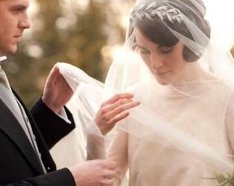 "1920s Downton Abbey Lady Mary Inspired Crystal Tiara Headpiece-Art Deco Headband-Woodland Boho Wedding Crystal Flower Leaf Halo Crown-""MARY"""