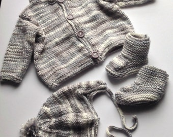 gray    Baby boy cardigan, hat and booties set