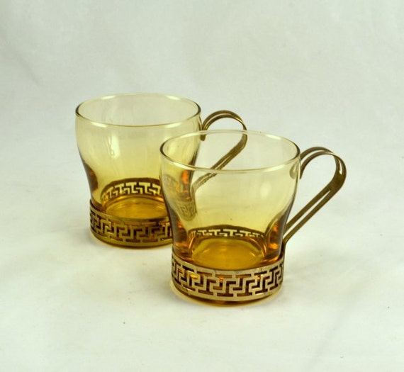 Glass Egg Nog Cups- Greek Key Cups - CONTINENTAL - LIBBEY Glass ...
