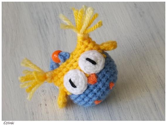 Owl Charm Amigurumi Owl Pendant Crochet Keychain Bag by ...