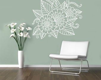 Abstract Flowers Mehndi Wall Vinyl Decal Henna Indian Ornament Wall Sticker Indian Religions Home Decor Paisley Housewares 5(mhi)