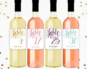 Table Number Wine Label, Wedding Wine Label, Wedding Wine Centerpiece, Rehearsal Dinner, Anniversary Party Wine Label, Wedding Decoration