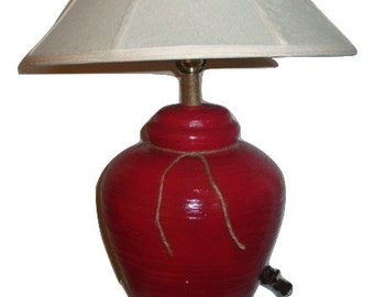 Red table lamp | Etsy