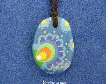 Hand painted stone necklace-Guardian of the heart-Gift idea-Small present-Made with love in meditation-Amulet pendant-Heart warming