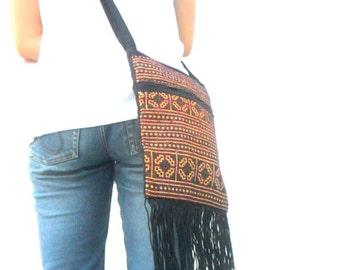 """Boho Bag Hobo Bag Crossbody Bag Shoulder Bag bohemian bag Embroidered Bag Hippie Purse Bag Bag Thai Bag Handmade Gift 9.5""""x7.5"""""""
