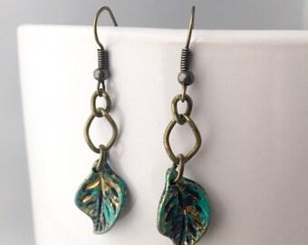 Woodland Festival Earrings Spring Festival Jewelry - Bohemian Jewelry or Bohemian Leaf Earrings - Hippie Earrings or Leaf Earrings - Bohemia