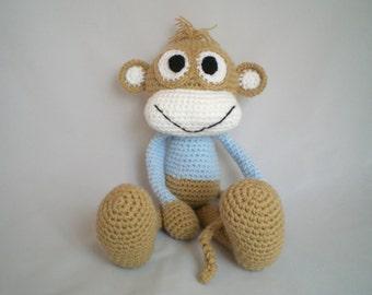 Crochet Monkey soft Toy / Amigurumi Cheeky Monkey  / hand made Monkey soft toy with Blue detail.