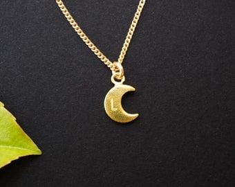 Tiny Flat Gold MOON Necklace,Crescent Moon Necklace,Moon Necklace,Small Moon Necklace,Bridesmaid Gifts,Dainty,FREE SHIPPING