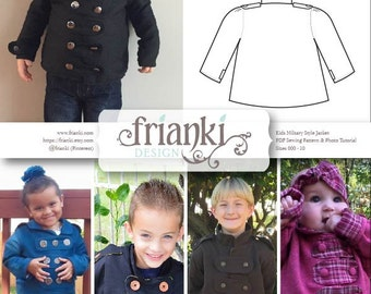 Children's Military Style Jacket - PDF Sewing Pattern and Photo Tutorial - Sizes 000 to 10 - Baby Toddler Easy Pattern