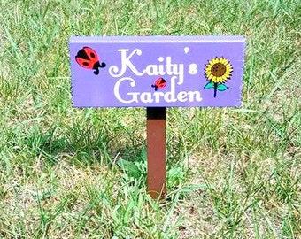Personalized Garden Sign, Custom Garden Sign, Ladybug Sign, Sunflower Sign,  Outdoor Wood