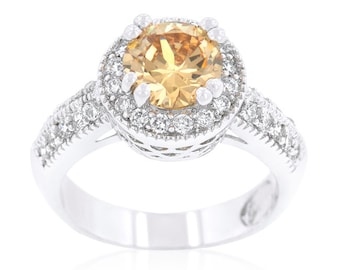 Champagne Royal Halo Ring | 2 Carat Royal Halo Engagement Ring with 7mm Champagne Center Stone Hoisted Above a Glistening Band