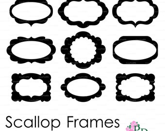Scallop Frames Set of 9 Cutting File (svg, dxf, ai, eps, png) vinyl Overlay decal Digital Download Vector Silhouette Cameo EasyCutPrintPD