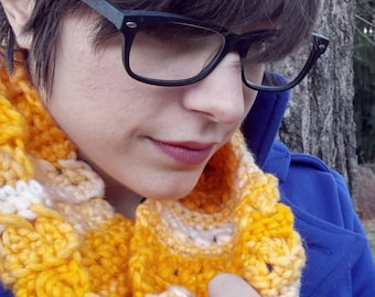 Sunny Yellow Crochet Cowl Infinity Scarf Just for You