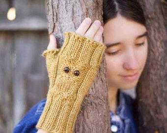 Owl Fingerless Gloves, Owl Fingerless Mitts, Owl Mittens, Owl Lovers, Adult Owl Mittens, Womens Adult Owl Mitts, Fingerless Gloves