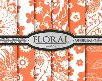 Coral Digital Paper: Coral Scrapbook Paper, Coral Floral Paper, Coral Paper Flower Backdrop, Coral Printables, Coral Pink Digital Download