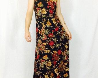 Black floral dress 90s long dress vintage black dress black maxi dress floral maxi dress long black dress long floral dress vintage dress
