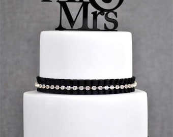 Black Mr & Mrs Wedding Acrylic Cake Topper Available in many Colors