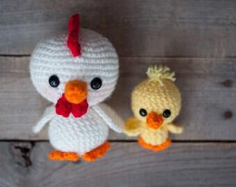 PATTERN: Crochet chicken and baby chick toy - amigurumi chicken - farm animal - stuffed toy animal tutorial - PDF crochet pattern