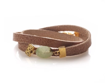leather bracelet double wrap with aventurine stone