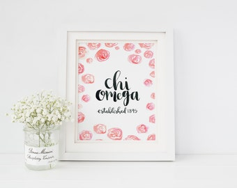 Chi Omega Sorority Art Print | Great gift for big and little!