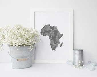 Africa Drawing Print