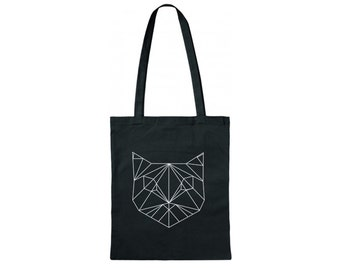 Hand printed cotton bag / jute bag with geometric cat print Black / White / 38 x 42 cm