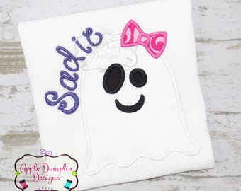 Halloween Ghost with Bow Applique Machine Embroidery Design, Girl, Girly, Cat, Pumpkin, Trick or Treat, Thanksgiving,  4x4, 5x7, 6x10, 9x9