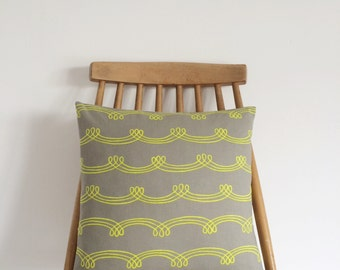 REDUCED! Handmade cushion with a neon green pattern on a grey background, Feather insert included.
