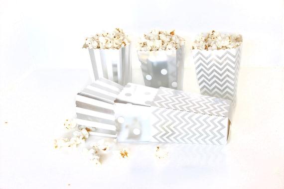 9+ Iridescent Silver Favor Gift Paper Popcorn Box, Silver Foil Popcorn Candy Box, Popcorn Foil Bag, Baby Shower Treat Goodie Bag Box,