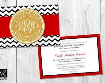 Customizable Graduation Announcement / Graduation Invitation  - COLLEGE or HIGH SCHOOL - Monogrammed - Printable Digital File