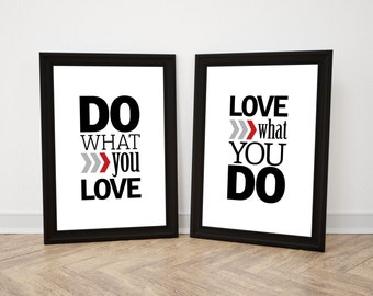 Do what you love, love what you do, Motivational poster, Printable poster, Wall art, Scandinavian poster, Nordic decor