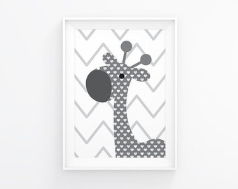 Gender neutral Nursery art - Giraffe nursery print - Nursery Printable - White and grey - Nursery wall art  - Nursery decor - Nursery poster
