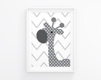 Uptown Giraffe Digital Art Prints Instant Download Nursery