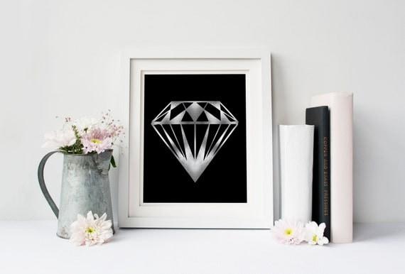 Silver diamond poster, Modern poster, Printable poster, Minimal wall decor, Scandinavian poster, Wall decor, Nordic decor, Diamond wall art