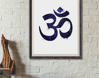 Ohm Print Symbol Stars, Yoga Print Watercolor , Yoga Decor, Yoga Wall Art, Ohm Decor, Yoga Gift, Yoga Studio Decor, Yoga Poster (No A0394)