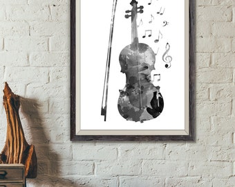 Violin Black and White Print No2, Violin Watercolor, Music Wall Art, Music Poster, Music Instrument Poster, Violin Decor, Violin Art (A0250)