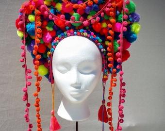 Burning man/Festival pom pom headdress