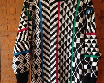80's' Vintage Black and White Sweater/Sweater Dress by David Brett