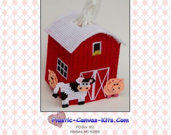 Barn Tissue Topper-PDF Download-Plastic Canvas Pattern-Pig, Cow
