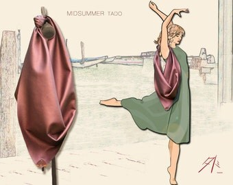Shoulder Bag ~ Original Furoshiki bag ~ vegan leather ~ Midsummer night TADO ~ nuit estivale ~ Urbain Nomade ~ exclusivity Pure TADO