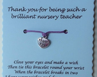 Nursery teacher gift, Thank you Card, Nursery teacher card, Thank you gift, String Bracelet, Cord Bracelet, Nursey teacher, Charm bracelet