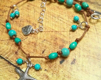 Turquoise and Blue Wood Beads Anklet