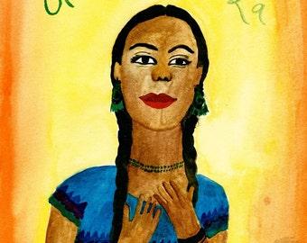 Entregando Fuerza Watercolor Original Painting Print Native American Woman Braids Giving Strength
