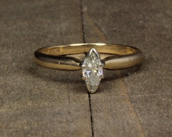 Estate, 14K Yellow Gold Marquise Cut Diamond Ring