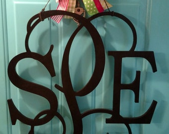 "24"" Wooden Panoramic 3 letter Monogram"