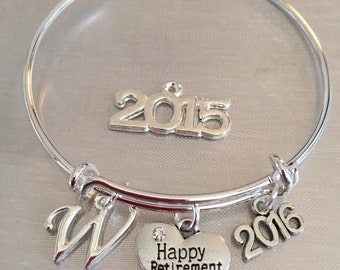 Happy Retirement-2017,2016 or 2015 bangle bracelet