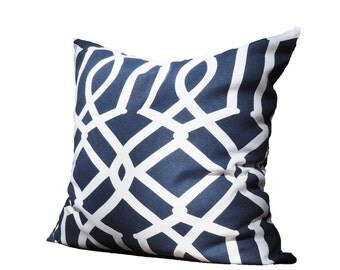Blue Trellis Pillow Case,  Pattern, Geometric, White, Modern, Bright, Square shape, 45x45 cm (17.7x17.7inches)