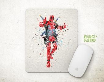 Deadpool Superhero Watercolor Art Mouse Pad - Mousepad - Home Decor - Gift - Watercolor Painting - Desk Supplies - Deadpool Accessories -P29
